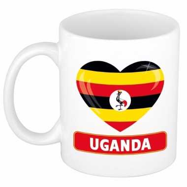 Oegandese vlag hartje theebeker 300 ml