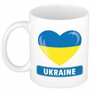 Oekraiense vlag hartje theebeker 300 ml