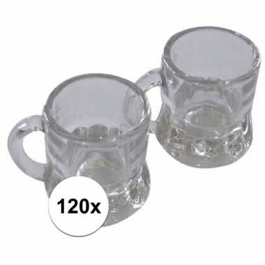 Oktoberfest - 120x shotglas bierpul met handvat 20 ml