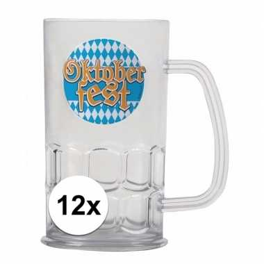 Oktoberfest - 12x bierfeest bierpullen kunststof van 500 ml