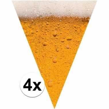 Oktoberfest - 4x stuks bier/pils them print vlaggenlijnen/slingers va