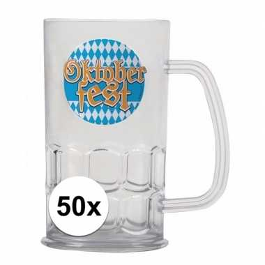 Oktoberfest - 50x bierfeest bierpullen kunststof van 500 ml
