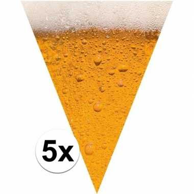 Oktoberfest - 5x stuks bier/pils them print vlaggenlijnen/slingers va
