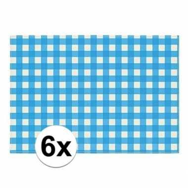 Oktoberfest - 6x placemats blauw/wit geblokt 43 x 30 cm