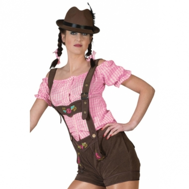 Oktoberfest bruine lederhosen voor dames trend