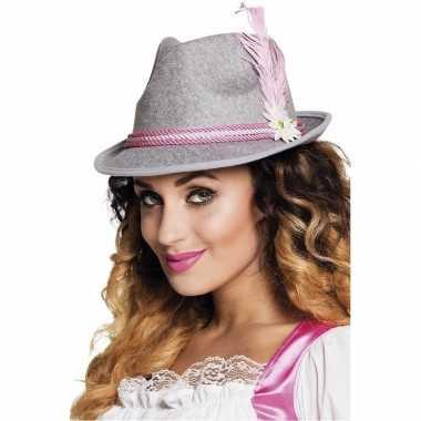 Oktoberfest grijs met roze tiroler hoedje voor dames