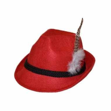 Oktoberfest hoedje rood met veer