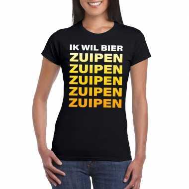 Oktoberfest - ik wil bier zuipen tekst t-shirt zwart dames