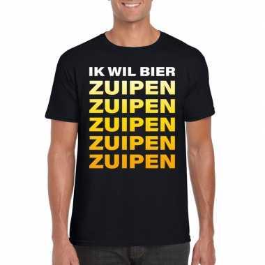 Oktoberfest - ik wil bier zuipen tekst t-shirt zwart heren