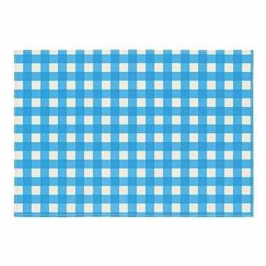 Oktoberfest - placemat blauw/wit geblokt 43 x 30 cm