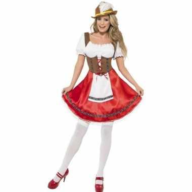 Oktoberfest - rood/bruin oktoberfest dirndl jurkje voor dames