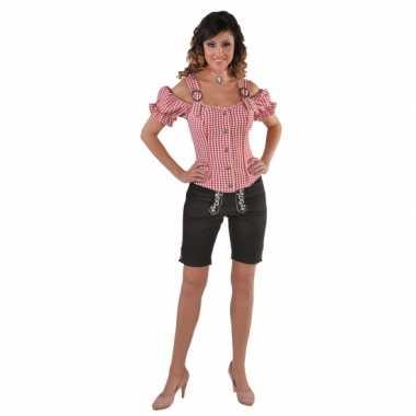 Oktoberfest tiroler blouse off shoulder rood geruit