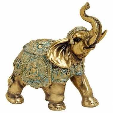 Olifant dieren beeldje goud 16 cm woondecoratie