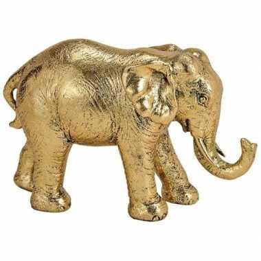 Olifant dieren beeldje goud 18 cm woondecoratie