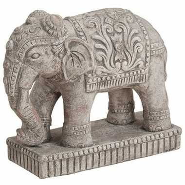 Olifant dieren beeldje grijs 27 cm woondecoratie