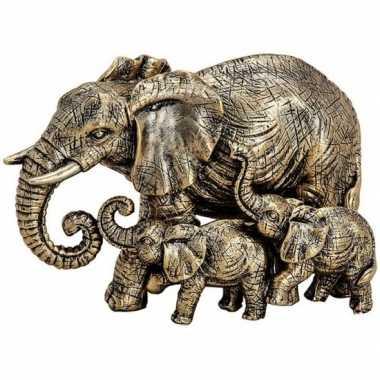 Olifanten dieren beeldje goud 13 cm woondecoratie