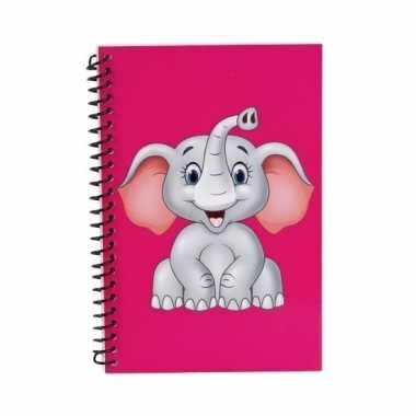 Olifanten notitieboekje roze 18cm trend