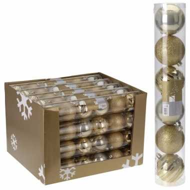 Onbreekbare kerstballen set goud 12 x