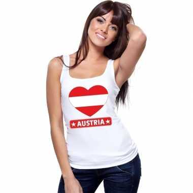 Oostenrijk hart vlag singlet shirt/ tanktop wit dames