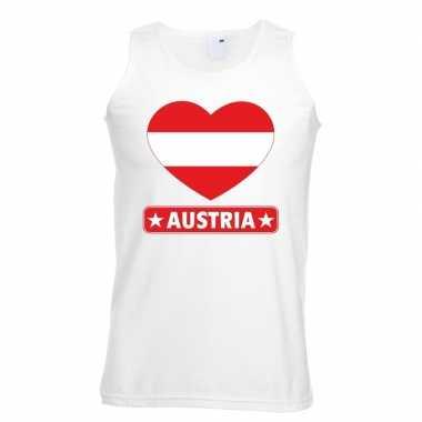 Oostenrijk hart vlag singlet shirt/ tanktop wit heren