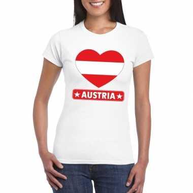 Oostenrijk hart vlag t-shirt wit dames