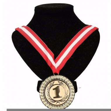 Oostenrijk lint nr. 1 medaille rood/wit/rood