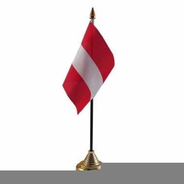 Oostenrijk tafelvlaggetje 10 x 15 cm met standaard