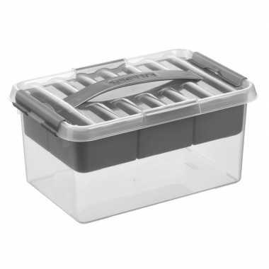 Opberg box/opbergdoos met tray 6 liter 30 x 20 x 14 cm kunststof