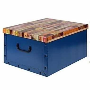 Opbergbox/opbergdoos blauw 50 x 38 cm