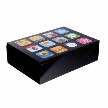 Opbergkistje/opbergbox smartphone apps opdruk 24 cm