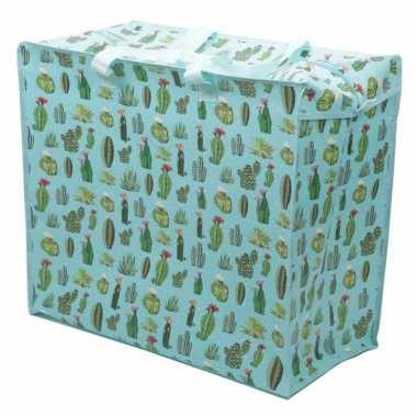 Opbergtas/dekentas cactus print 55 x 48 cm