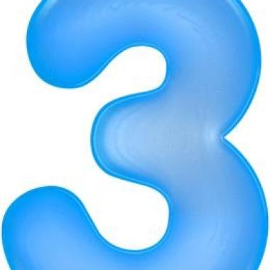 Opblaas cijfer 3 blauw