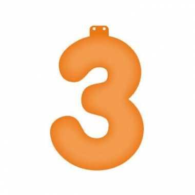 Opblaas cijfer 3 oranje