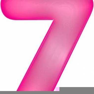 Opblaas cijfer 7 roze
