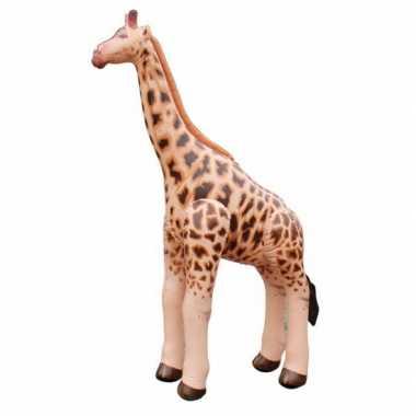 Opblaasbaar bruin speelgoed giraf 92 cm