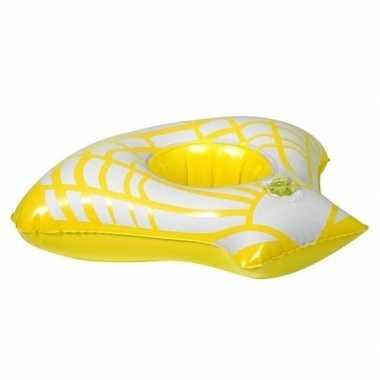 Opblaasbare drankhouder gele zeeschelp 23 cm