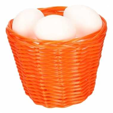 Orange easter basket with white plastic eggs 14cm