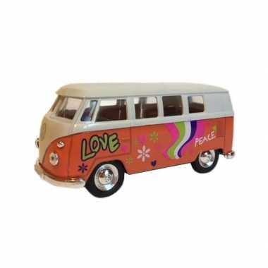 Oranje 1962 hippiebus met print speelgoedauto 15 cm