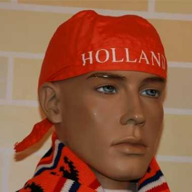 Oranje bandana met tekst holland