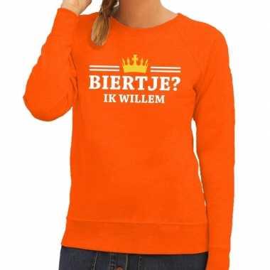 Oranje biertje ik willem sweater dames