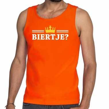 Oranje biertje met kroon tanktop / mouwloos shirt heren