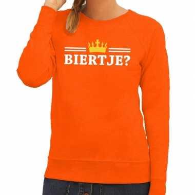 Oranje biertje met kroontje sweater dames