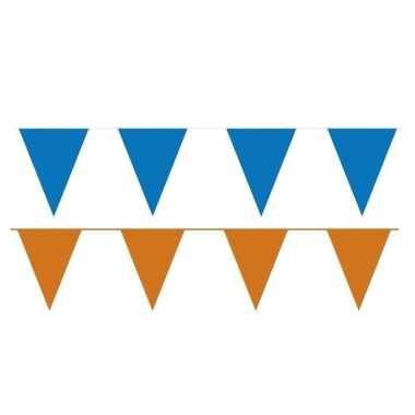 Oranje/blauwe feest punt vlaggetjes pakket 120 meter