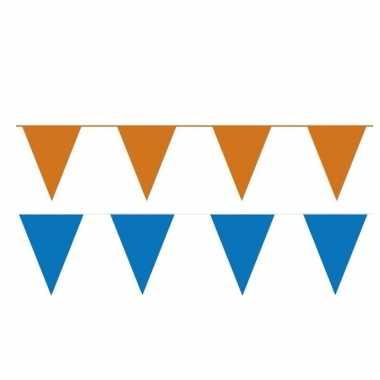 Oranje/blauwe feest punt vlaggetjes pakket 60 meter