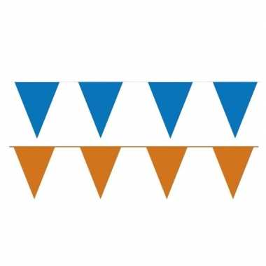 Oranje/blauwe feest punt vlaggetjes pakket 80 meter