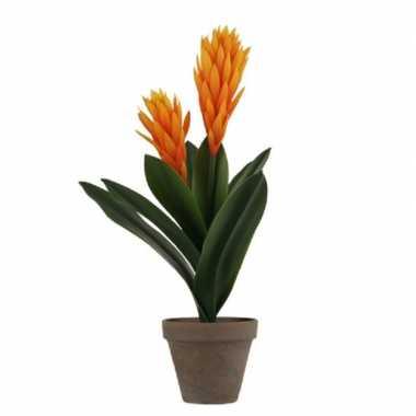 Oranje bromelia kunstplant 45 cm in grijze pot