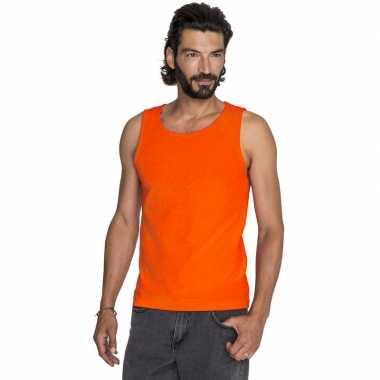 Oranje casual tanktop/singlet voor heren