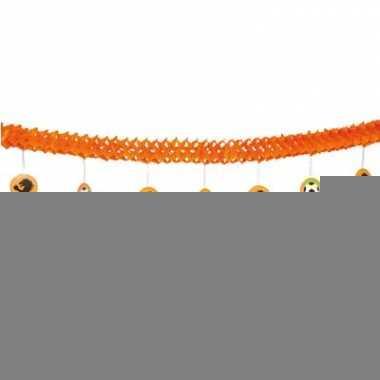 Oranje crepe slinger 4 meter