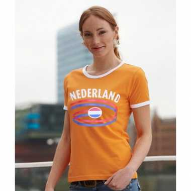 Oranje dames shirts met vlag van nederlandse