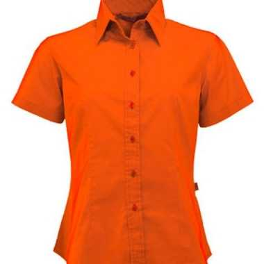 Oranje damesblouse met korte mouwen
